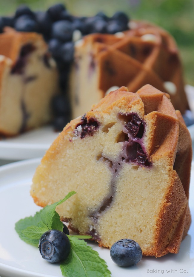white chocolate and blueberry bundtcake