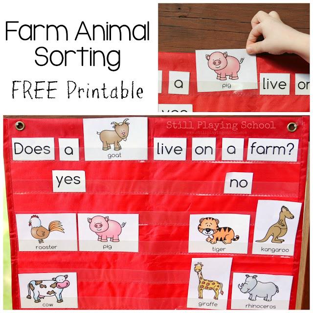 Free printable for farm animal sorting sentences