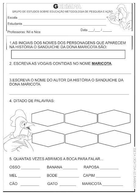 Atividades Alfabetizacao O Sanduiche Da Dona Maricota