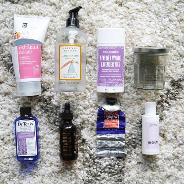 Round-up of empty body care products featuring BVSpa, Crabtree & Evelyn, Schmidt's, Blancreme, Dr. Teal's, Trader Joe's, Woodlot