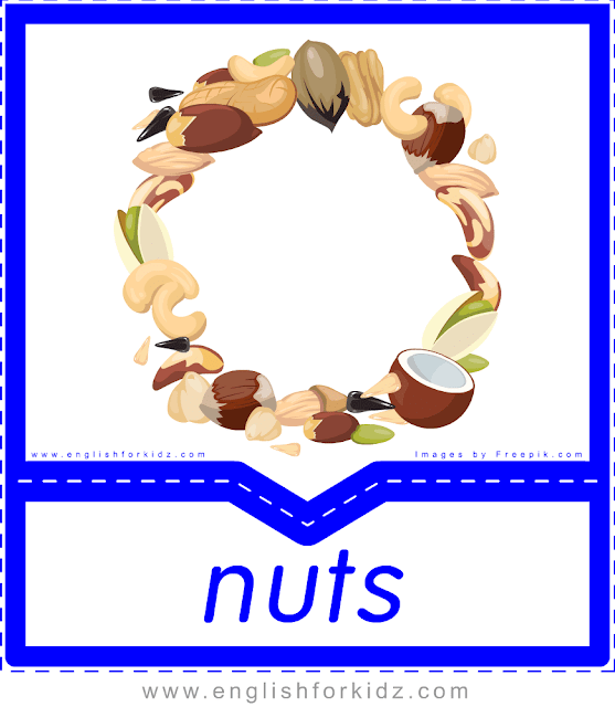 Nuts - English food flashcards for ESL students