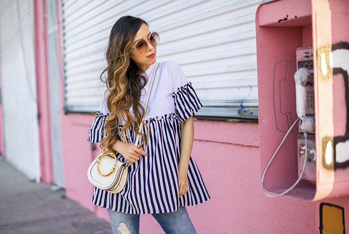 Golden goose super star sneakers, asos stripe top, chloe carlina sunglasses, chloe nile bag, blank nyc distressed jeans, travel outfit ideas, san francissco fashion blog, la lan land street style