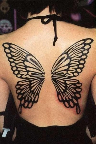 fffbcaad3 Above: This full back tattoo uses a tribal design style for a clear, simple  effect. The butterfly wing design is built using only black shapes that  outline ...