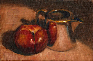 Oil painting of a nectarine beside a small silver-plated jug.