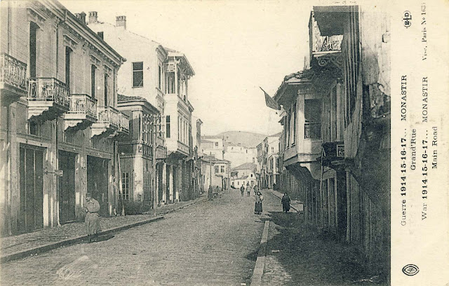 "The main street in 1917 – look toward north. On the left is hotel ""Bosnia""."
