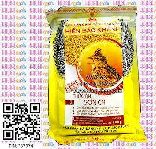HBK SON CA-  Hien Bao Kahn Thuc An SonCa adalah voer tinggi protein produksi Hien Bao Khanh yang di formulasikan untuk semua jenis burung Lark seperti Mongolian lark, Tibetan lark, Calandra lark, Sanma, Sonca, Pailing dan juga Branjangan.