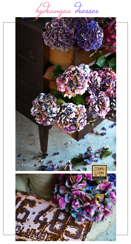 How to make this dried hydrangea dresser outdoors, perfect for a fall front porch!