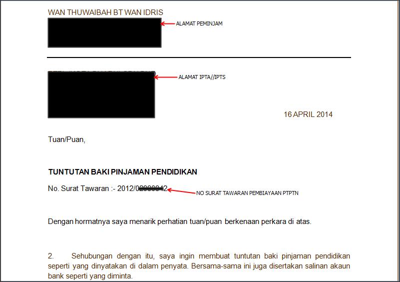 Contoh Surat Tuntutan Lebihan Bayaran