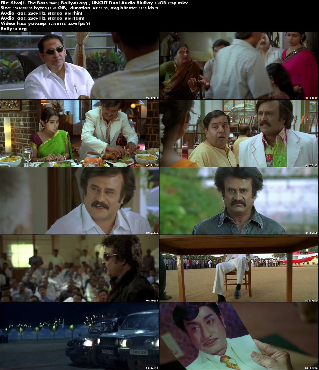 Sivaji The Boss 2007 Hindi UNCUT Dual Audio BluRay 720p Download