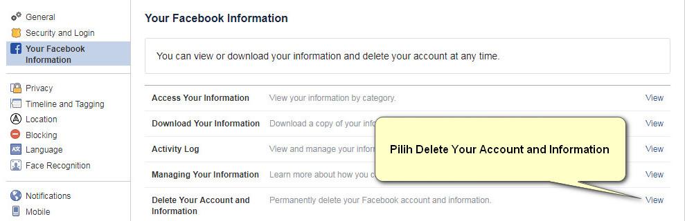 Tahap ke-3 untuk mendelete akun FB
