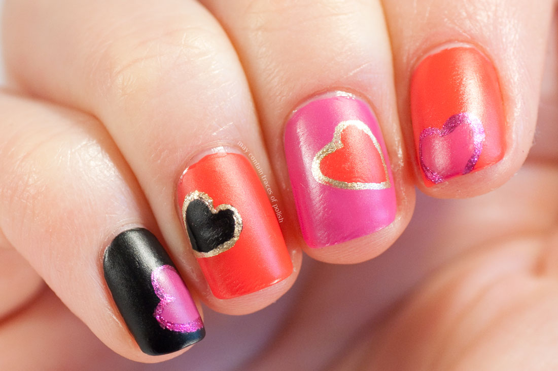 Red and Pink Heart Valentine's Day Manicure