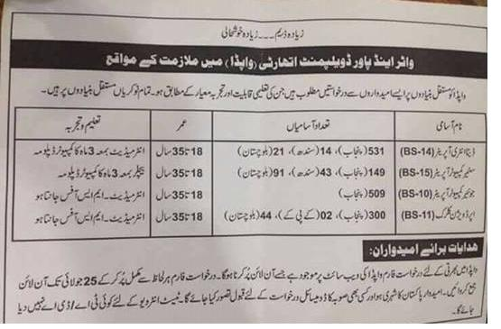 Jobs in WAPDA 11 July 2018