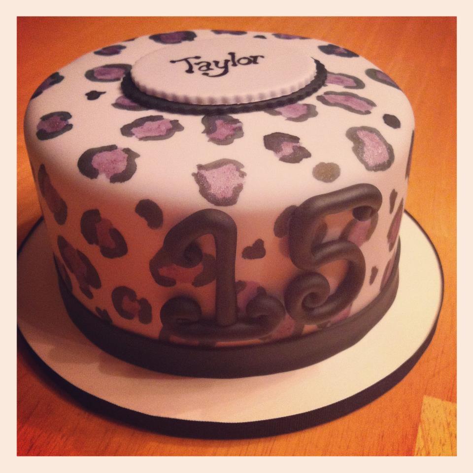 Purple Leopard Print Birthday Cake
