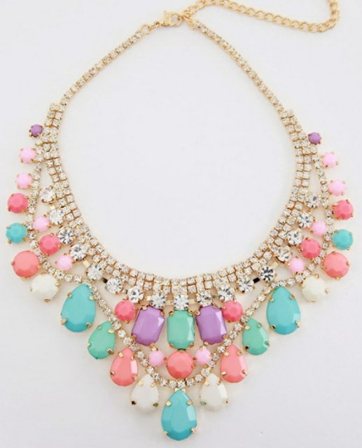 Minusey's pastel resin bib necklace. Via Diamonds in the Library.