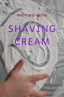 writing with shaving cream: activity for preschool