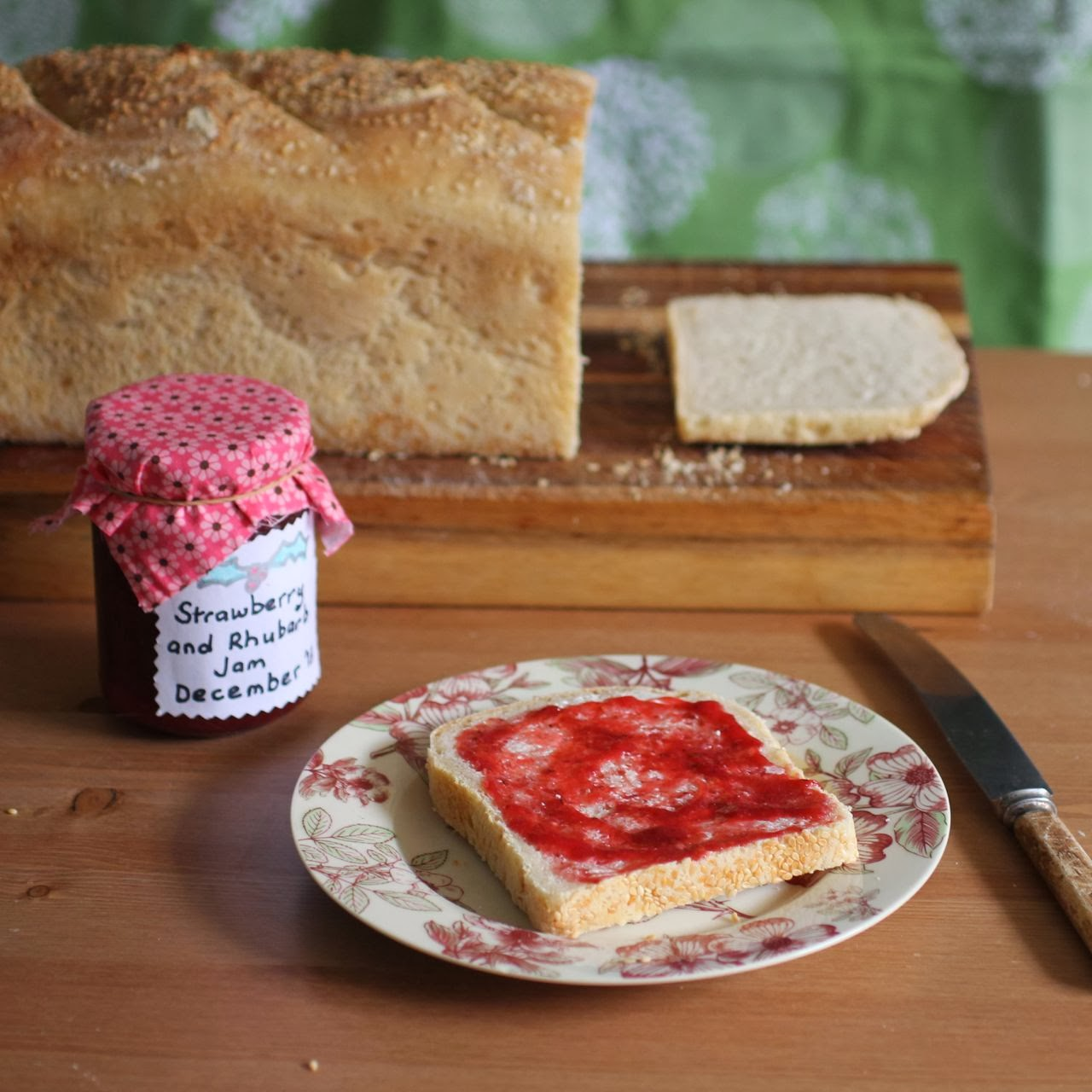 green gourmet giraffe rhubarb and strawberry jam and decorating the