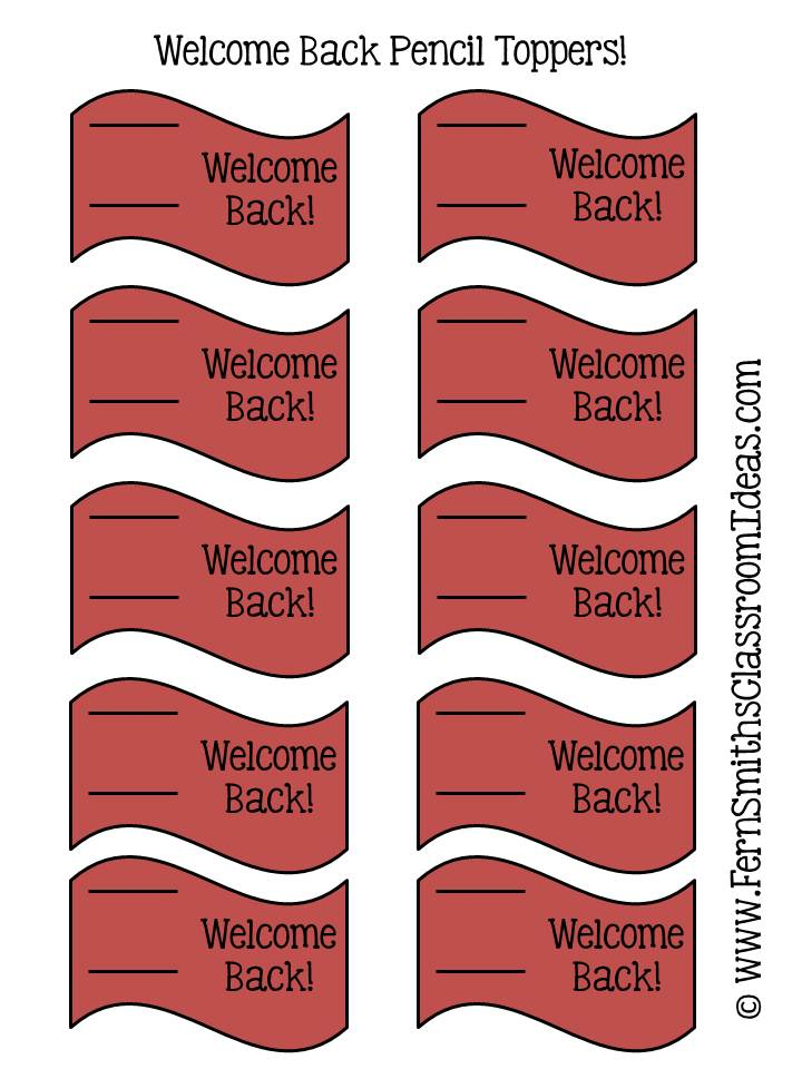 Fern Smith's FREE Welcome Back To School Pencil Toppers