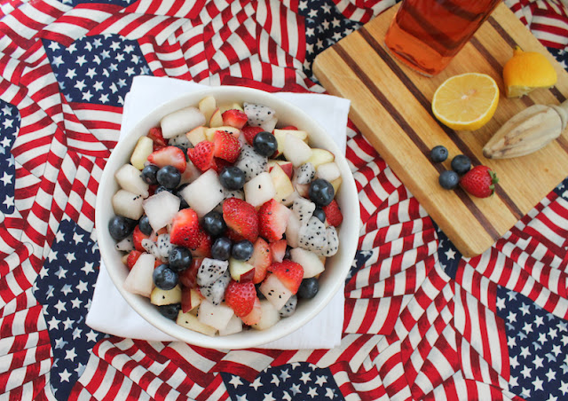 Food Lust People Love: Not so much of a recipe as a way to add flavor and sweetness, the flavored alcohol makes this boozy red white and blue fruit salad a great adult treat at any summer picnic.