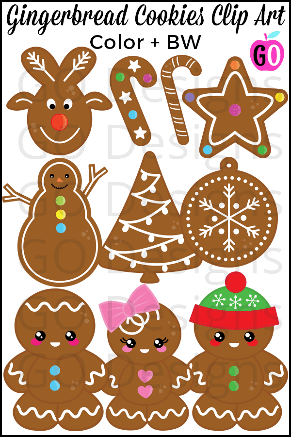 Gingerbread Man Clip Art for the Holidays. This sweet set of gingerbread cookies clipart is sure to delight! There are 20 png images, including black line art. #gradeonederful #gingerbread #gingerbreadman #gingerbreadmanclipart #clipart #christmasclipart