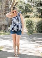 Black Gingham Peplum