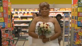 Larry and Mary Tinson met again at a grocery store in 2012 (last saw each other over 20 years ago) decided to take their marital vow at Harvey's supermarket in an Albany, Georgia, last week on Thanksgiving Day