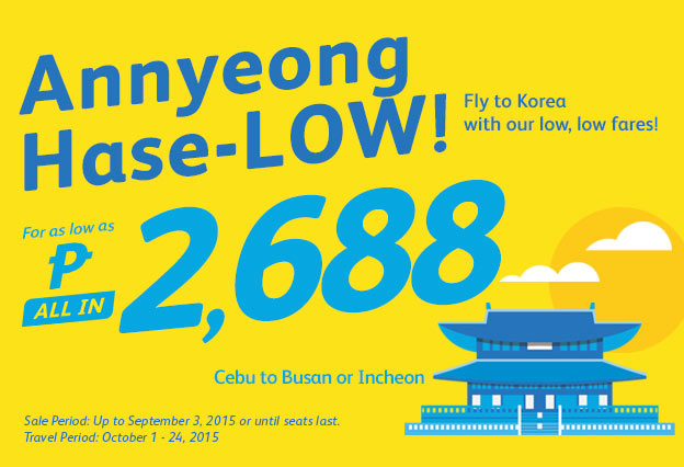 Cebu to Busan or Incheon Korea Cebu Pacific Promo Ticket