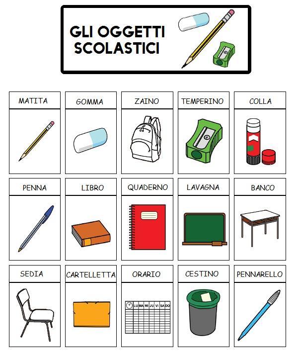 Comunicaazione gli oggetti della scuola for Piani di casa padronale inglese