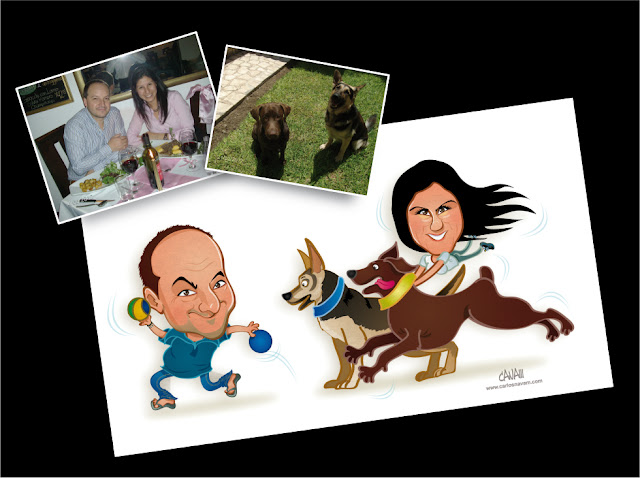caricatura parejas y mascotas