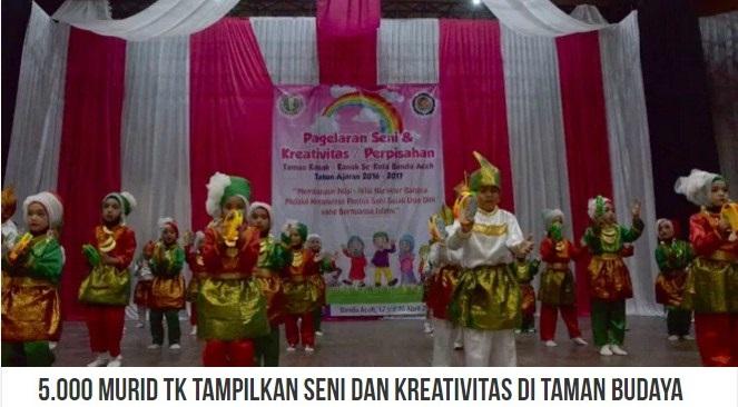 5.000 Murid TK Se-Kota Banda Aceh mengikuti Pagelaran Seni dan Kreativitas di Taman Budaya