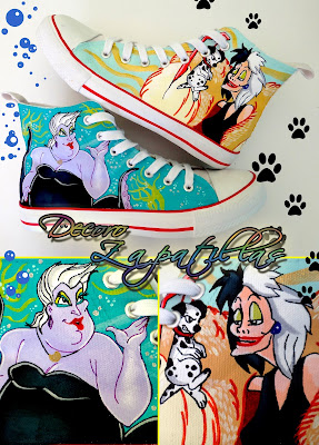 CRUELA DE VIL AND URSULA CUSTOM SHOES FANART