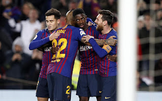 brace from Ousmane Dembele and a goal from Lionel Messi powered  Barcelona into the next round of the Copa del Rey with a 3-0 win over Levante in their round of 16 second leg