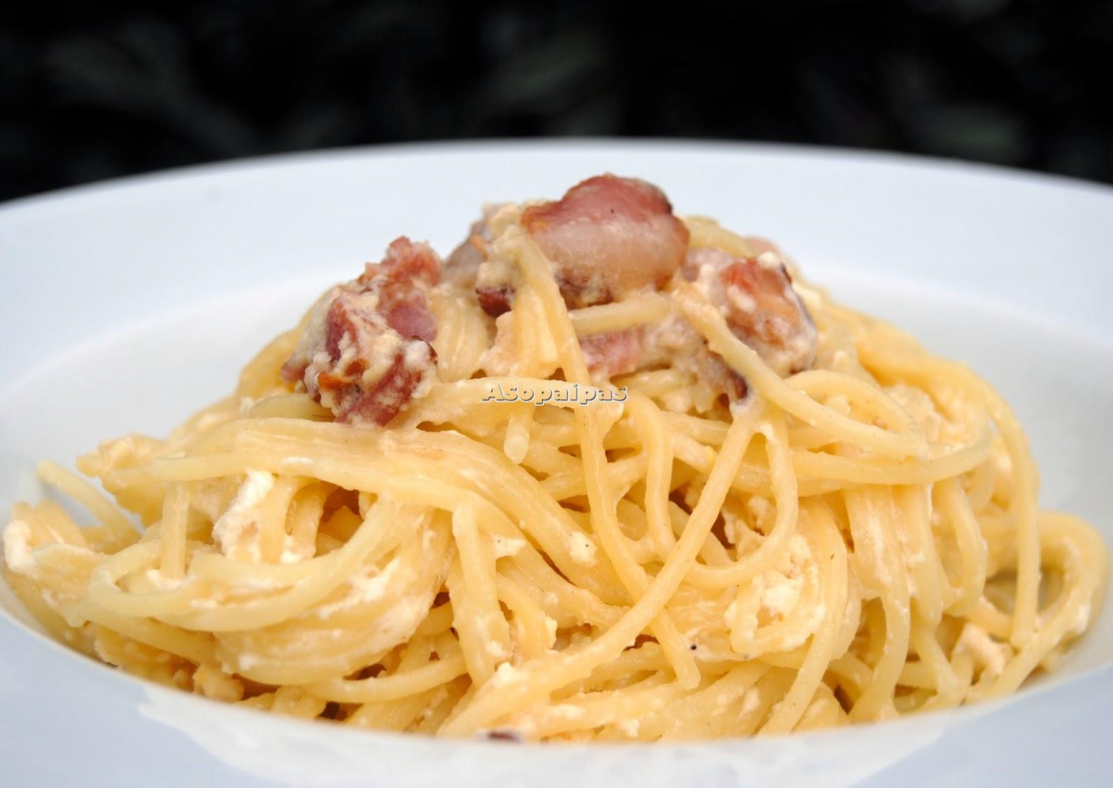 Espaguetis a la Carbonara con Yogur y Bacon