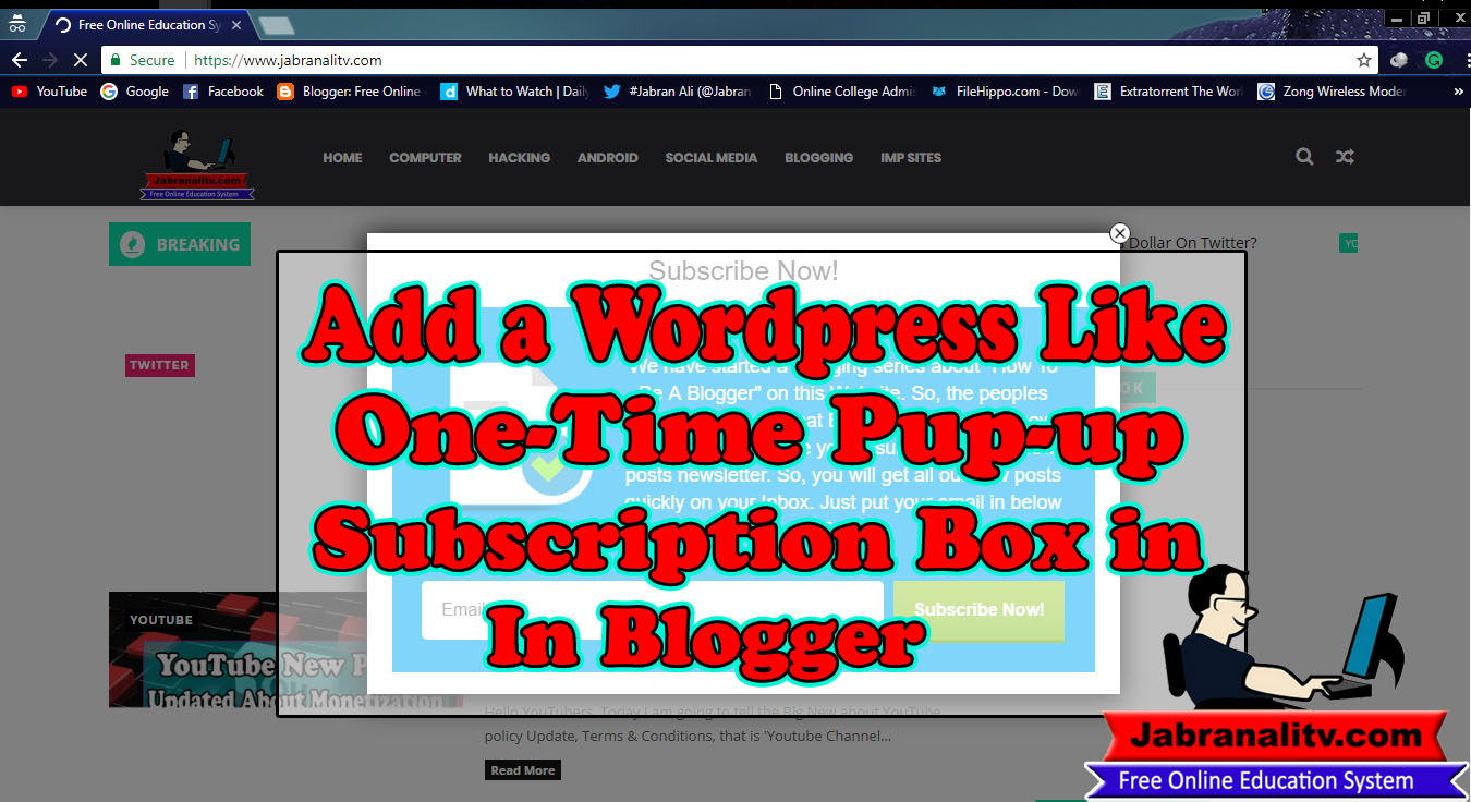 How To Add a WordPress Like One Time Pop-Up Subscription Box In Blogger