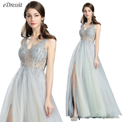 Sparkly V Cut Beaded Evening Dresses for Women