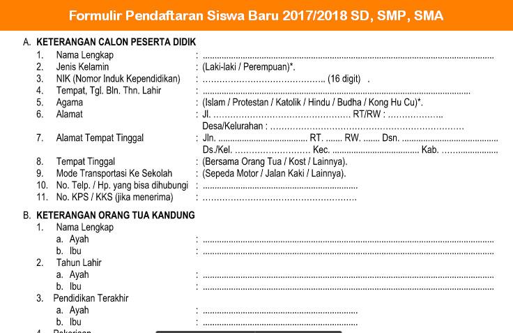 Formulir Pendaftaran Siswa Baru 2017 - 2018 SD, SMP, SMA