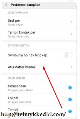 Cara menampilkan kontak SIM diXiaomi3