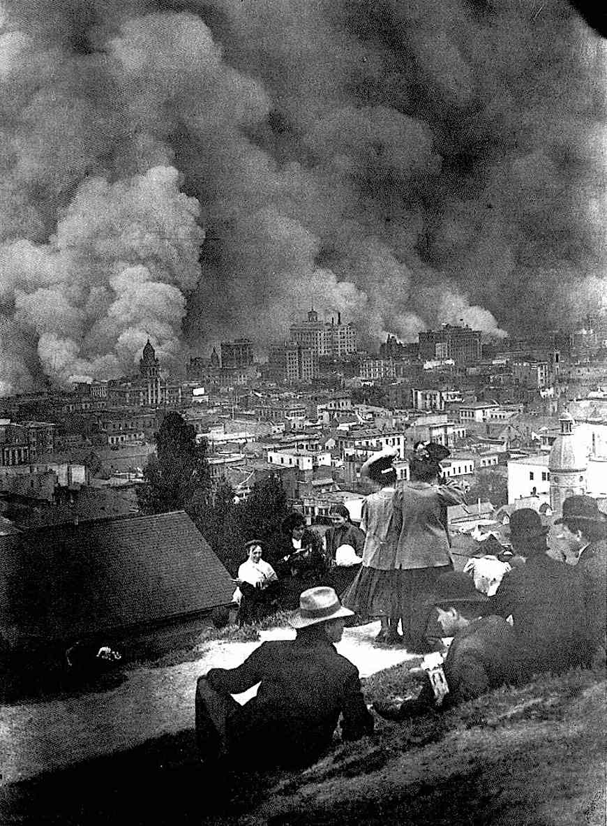 an Arnold Genthe photo of the 1906 San Francisco earthquake and fire