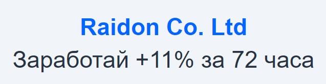 Инвестиционные планы Raidon