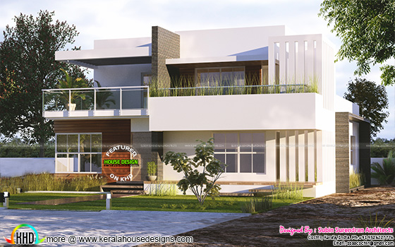 3 BHK modern flat roof home plan