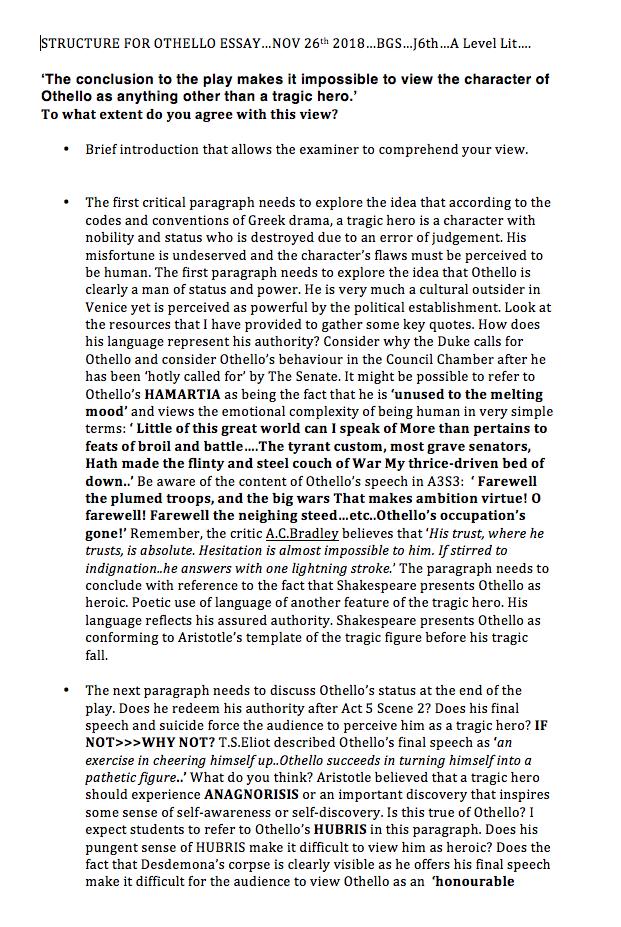 othello tragic hero thesis statement