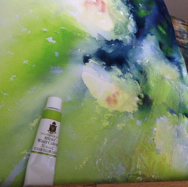 Applying new green for my peony watercolor painting