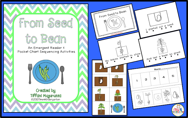 Resources for teaching how seeds grow: Includes and emergent reader- from seed to bean, how a seed grows, the life cycle of a bean sequencing the lifecycle.  All products can be found in my TpT store.