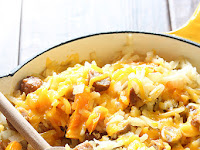 Cheesy Hash Browns and Sausage Skillet