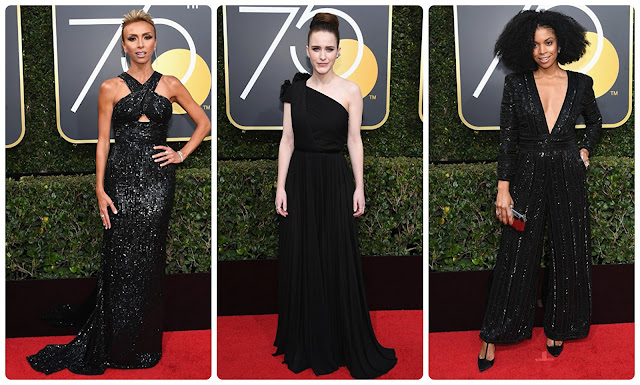 Looks dos globos de ouro 2018; Giuliana Rancic; Rachel Brosnahan; Susan Kelechi Watson