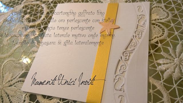 """oo Il mod. """"Brezza Marina"""" per Laura e FilippoColore Arancio Colore Bianco Colore Giallo Partecipazioni intagliate Tema mare"""