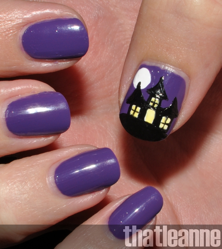 Thatleanne Chococat Nail Art: Thatleanne: Spooky Haunted House Nail Art For Halloween