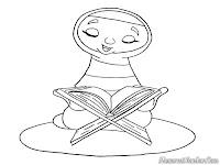 Mewarnai Gambar Mengaji Al Qur Diwarnai Ibu