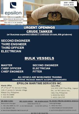 Recruitment Crew For Bulk Vessel and Crude Oil Tanker