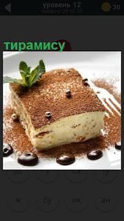 На подносе лежит приготовленный десерт итальянский тирамису