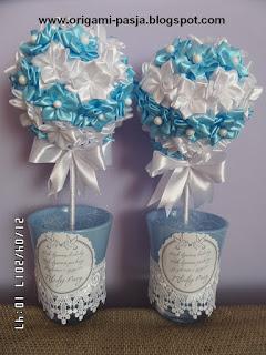 ślub, wesele, drzewka, na szczęście, ze wstążki, młodej parze, upominek, sizal, błękit, biel,
